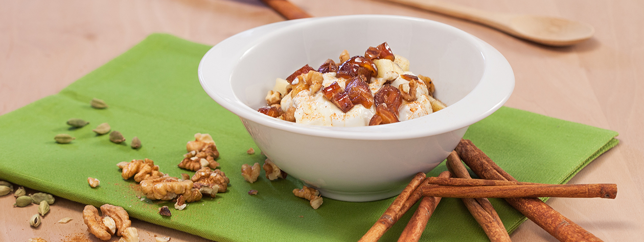 fage total greek yogurt bowl with dates walnuts and apples