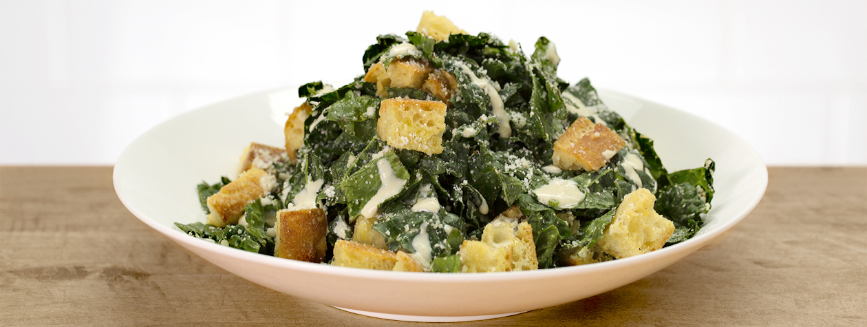 Shredded Kale Caesar Salad with FAGE Total and Homemade Croutons