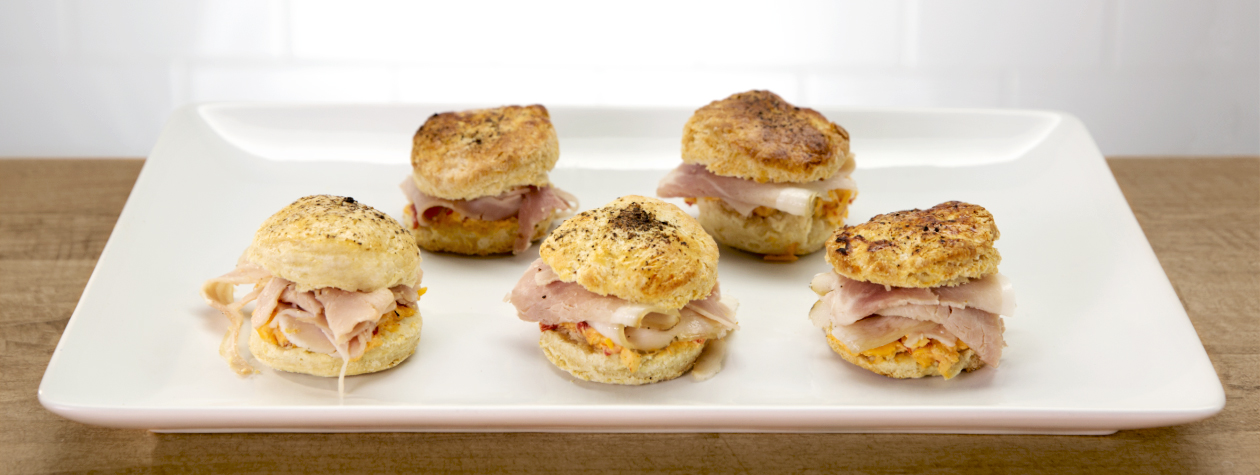 Black Pepper Yogurt Biscuits with Pimento Cheese, Country Ham and FAGE Total