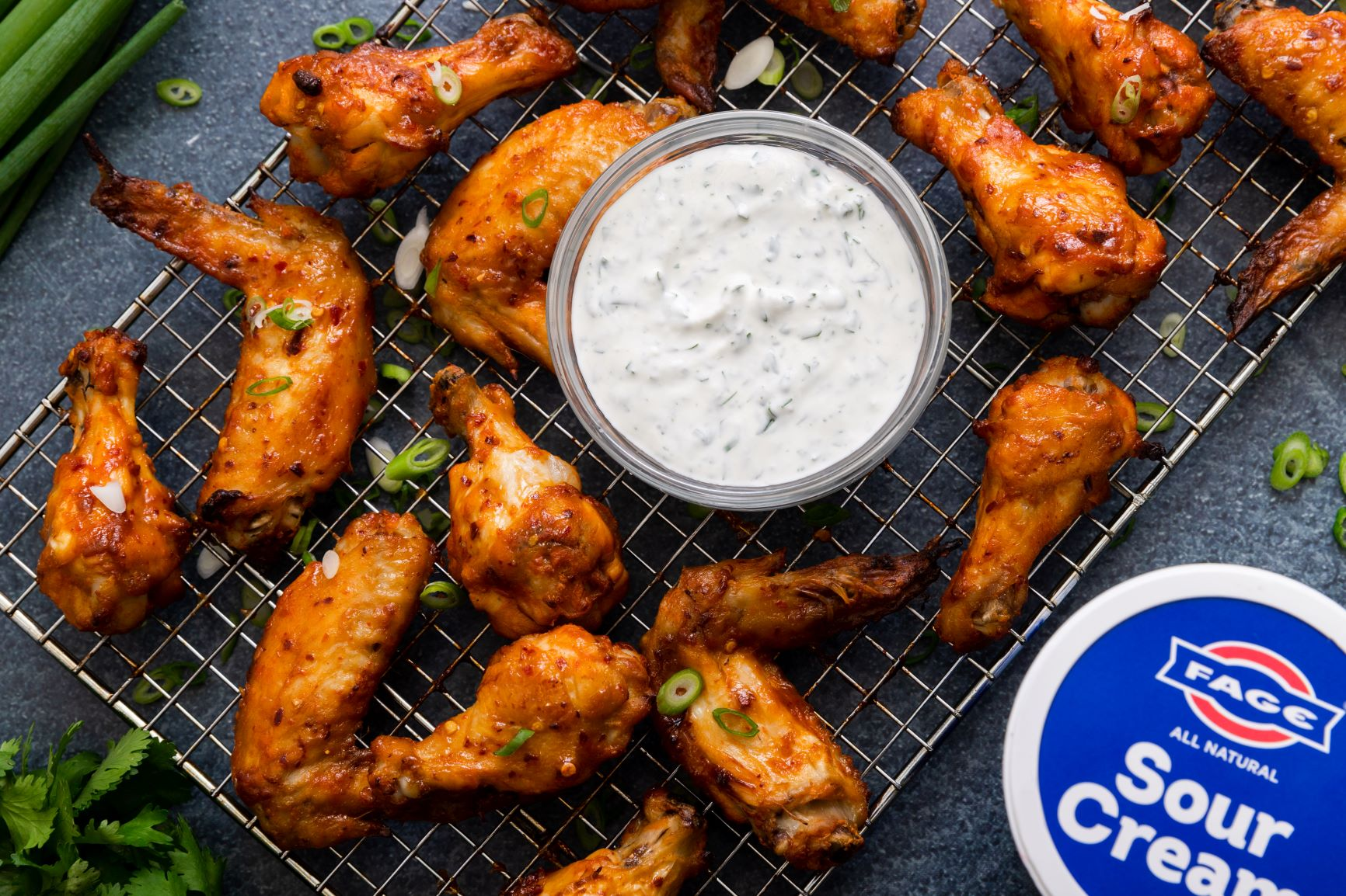 Sweet & Spicy Chicken Wings with FAGE Sour Cream