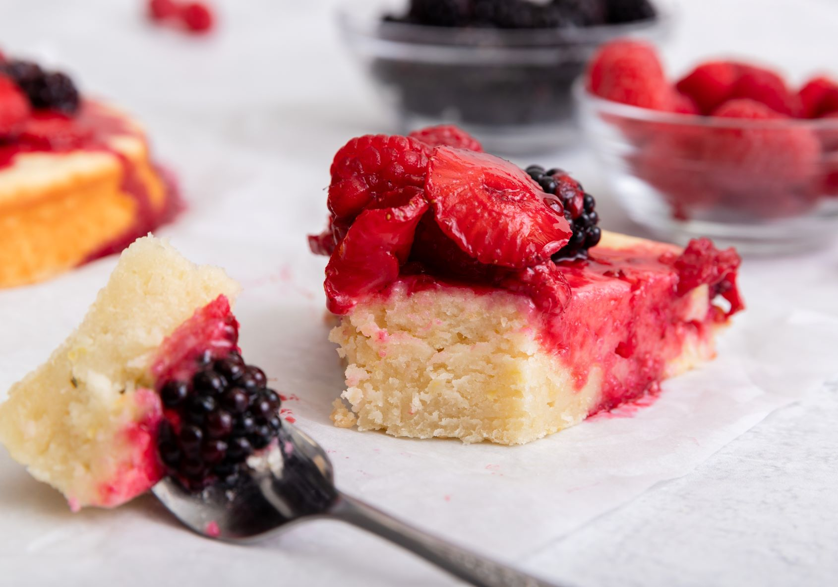 Sour Cream Cake with Mixed Berry Compote