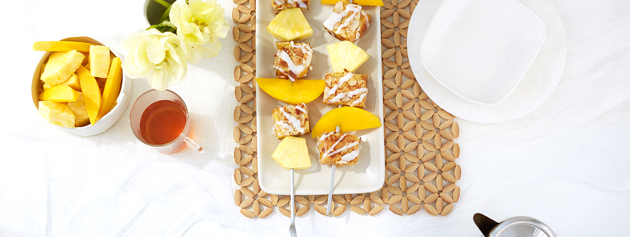 Coconut French Toast Skewers with FAGE Total Icing