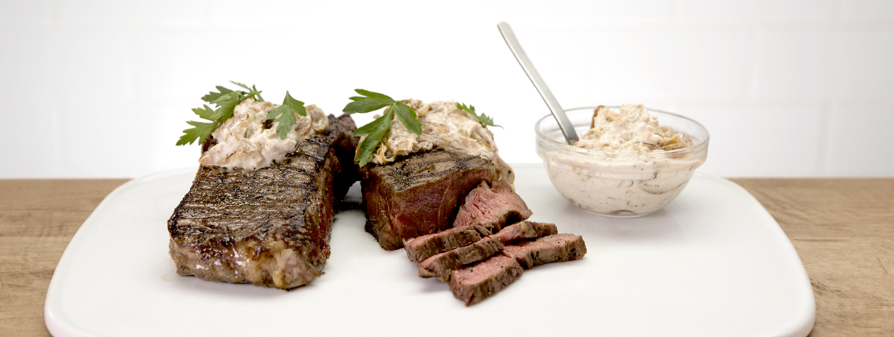 Grilled New York Strip with FAGE Total and Caramelized Onion-Horseradish Sauce