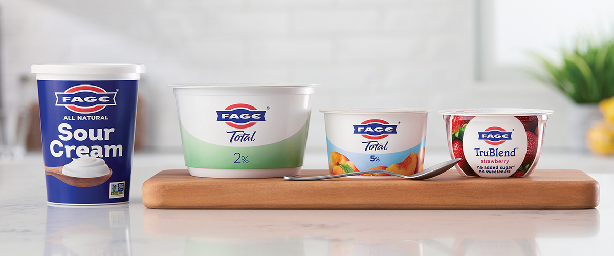 FAGE TruBlend, Sour Cream, FAGE TOTAL, AND FAGE Split cup