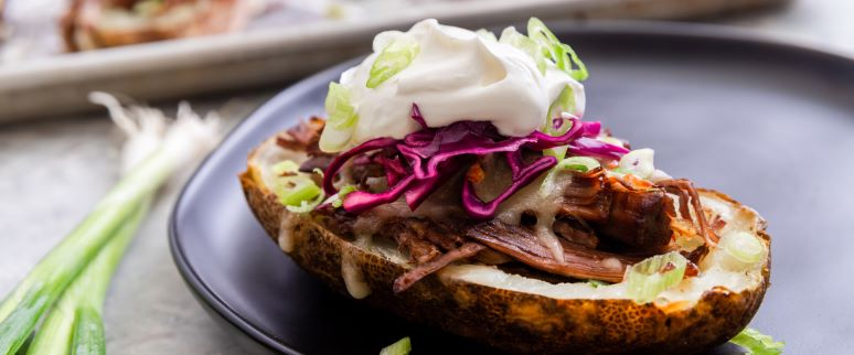 Chipotle and Sour Cream Braised Brisket And Potato Skins