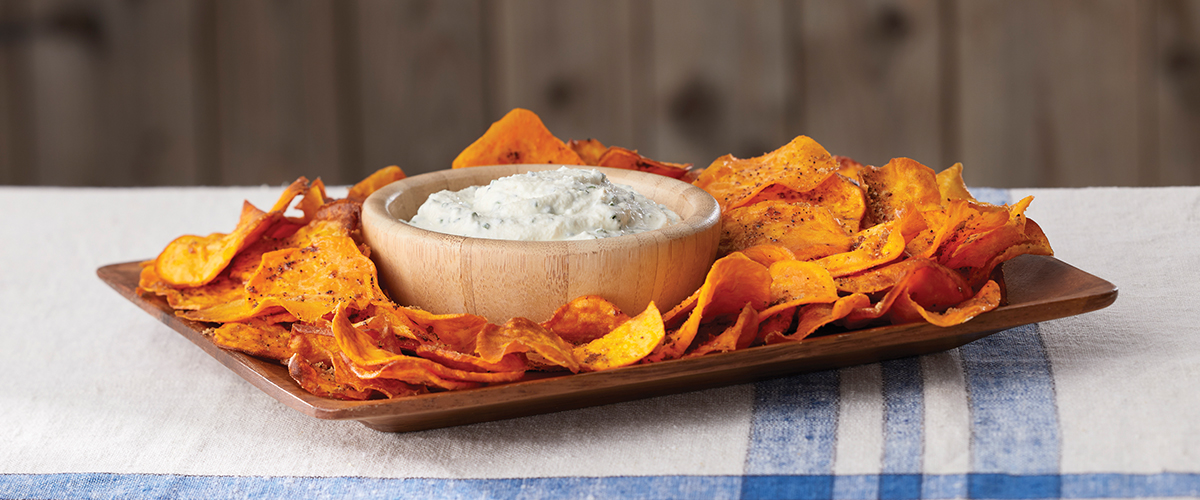 Fried Sweet Potato Chips with Sour Cream & Chive Dip