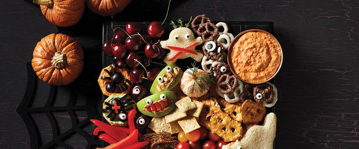 Halloween Party Platter with Roasted Red Pepper Yogurt Dip