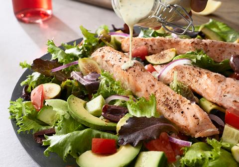 Mediterranean Salmon Salad with Greek Yogurt Dressing