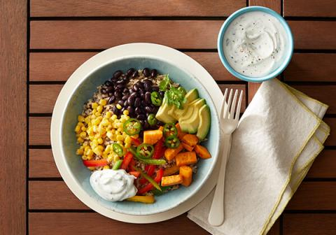 Southwestern Bowl with Vegetable Yogurt Sauce